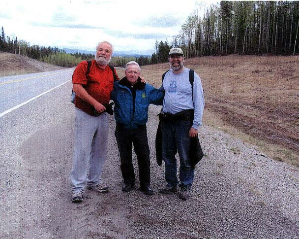 Floyd Matthews, center, caught up with Buckwheat and Gary Hanson on the Alaska Highway about 35 miles south of Watson Lake on May 25th.