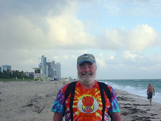ON THE BEACH - Buckwheat faces north on Miami Beach at the start of his Heartbeat Trail walk on Saturday, Oct. 1, and commences walking with a big howl.